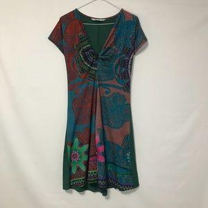 Desigual Sz S Dress Short Sleeve Dress V Neck Knot